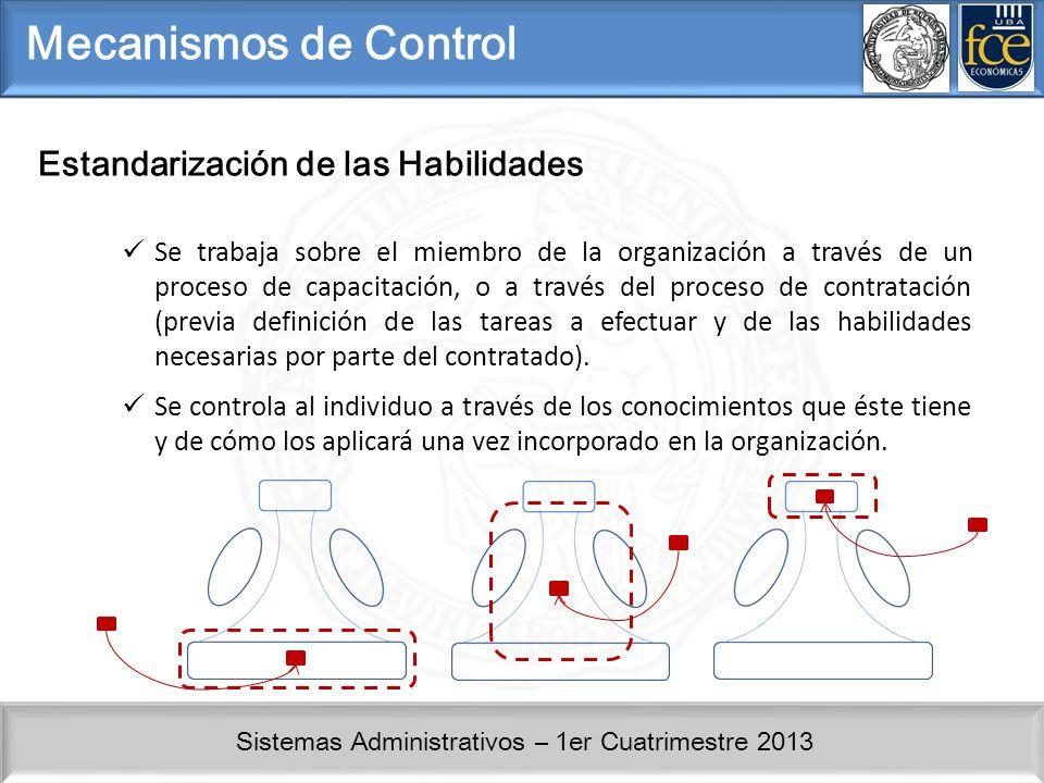 Sistemas Administrativos – 1er Cuatrimestre 2013 Mecanismos de Control Estandarización de las Habilidades Se trabaja sobre el miembro de la organización a través de un proceso de capacitación, o a través del proceso de contratación (previa definición de las tareas a efectuar y de las habilidades necesarias por parte del contratado).