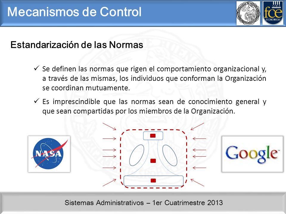 Sistemas Administrativos – 1er Cuatrimestre 2013 Mecanismos de Control Estandarización de las Normas Se definen las normas que rigen el comportamiento