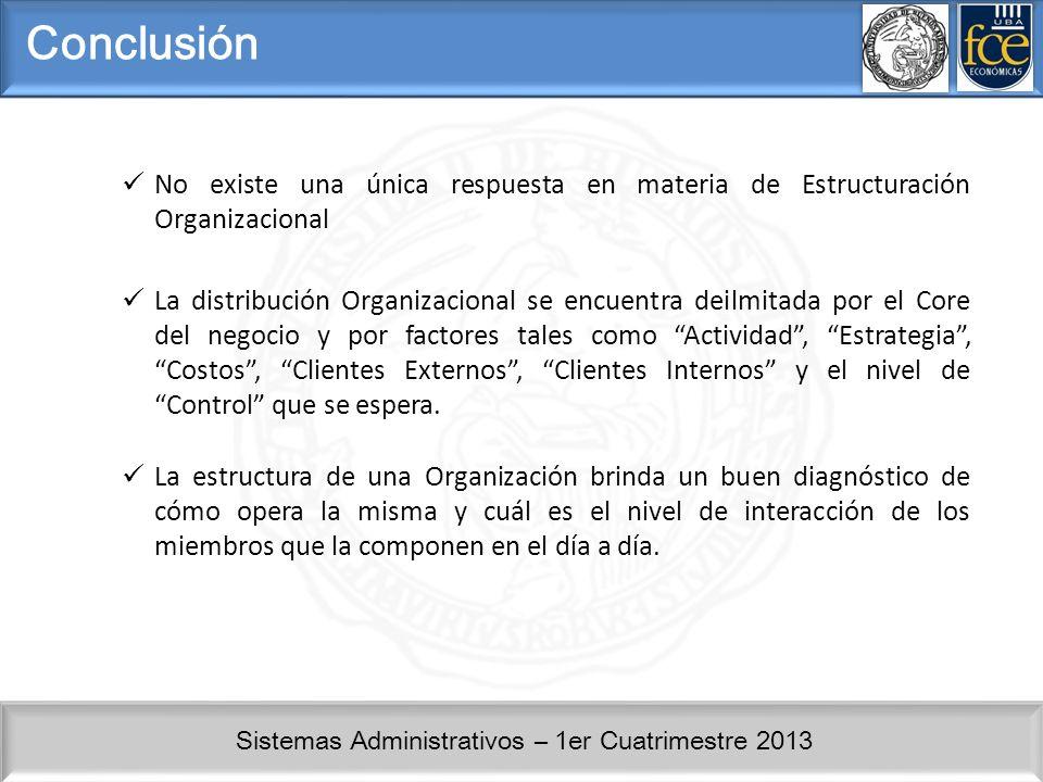 Sistemas Administrativos – 1er Cuatrimestre 2013 Conclusión No existe una única respuesta en materia de Estructuración Organizacional La distribución