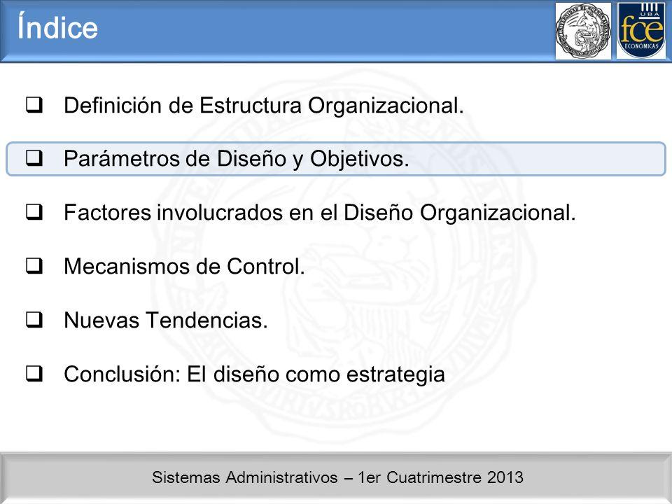 Sistemas Administrativos – 1er Cuatrimestre 2013 Factores de Diseño Estructura orientada por Agrupación de clientes: Corporate y Consumer.