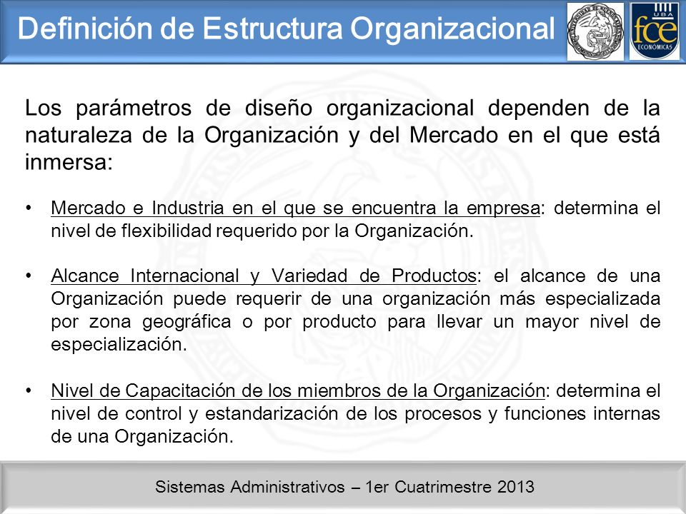 Sistemas Administrativos – 1er Cuatrimestre 2013 Definición de Estructura Organizacional Los parámetros de diseño organizacional dependen de la naturaleza de la Organización y del Mercado en el que está inmersa: Mercado e Industria en el que se encuentra la empresa: determina el nivel de flexibilidad requerido por la Organización.