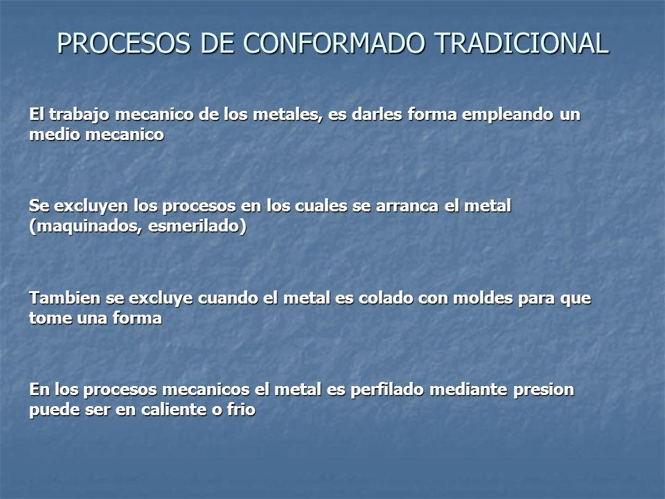 PROCESOS DE CONFORMADO TRADICIONAL El trabajo mecanico de los metales, es darles forma empleando un medio mecanico Se excluyen los procesos en los cua