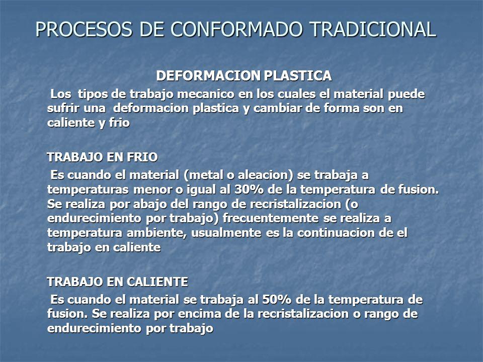 PROCESOS DE CONFORMADO TRADICIONAL DEFORMACION PLASTICA DEFORMACION PLASTICA Los tipos de trabajo mecanico en los cuales el material puede sufrir una deformacion plastica y cambiar de forma son en caliente y frio Los tipos de trabajo mecanico en los cuales el material puede sufrir una deformacion plastica y cambiar de forma son en caliente y frio TRABAJO EN FRIO TRABAJO EN FRIO Es cuando el material (metal o aleacion) se trabaja a temperaturas menor o igual al 30% de la temperatura de fusion.