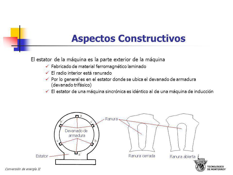 TECNOLÓGICO DE MONTERREY Conversión de energía II Aspectos Constructivos El estator de la máquina es la parte exterior de la máquina Fabricado de mate