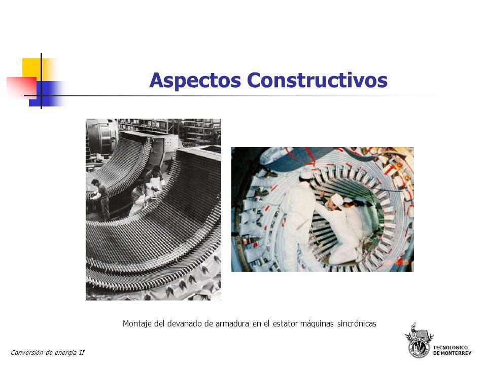 TECNOLÓGICO DE MONTERREY Conversión de energía II Aspectos Constructivos Diferentes máquinas sincrónicas Estator de una máquina sincrónica con su devanado de armadura trifásico