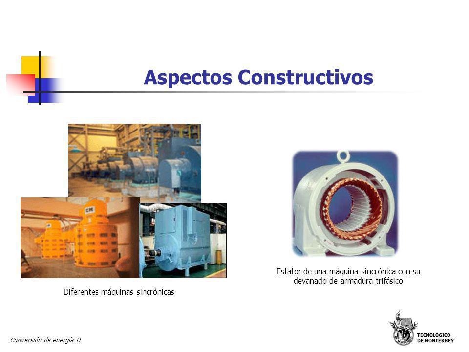 TECNOLÓGICO DE MONTERREY Conversión de energía II Aspectos Constructivos Diferentes máquinas sincrónicas Estator de una máquina sincrónica con su deva