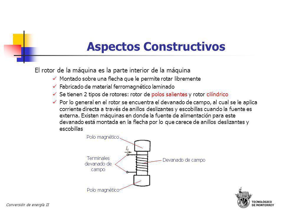 TECNOLÓGICO DE MONTERREY Conversión de energía II Aspectos Constructivos El rotor de la máquina es la parte interior de la máquina Montado sobre una f