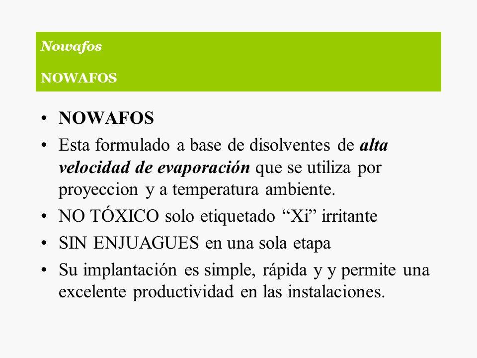 NOWAFOS Esta formulado a base de disolventes de alta velocidad de evaporación que se utiliza por proyeccion y a temperatura ambiente. NO TÓXICO solo e