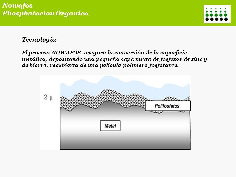 Tecnologia El proceso NOWAFOS es compatible con la mayor parte de recubrimientos orgánicos como : barnices, pinturas líquidas en base disolvente o hidrosolubles, polvo epoxi, mixto o poliéster.