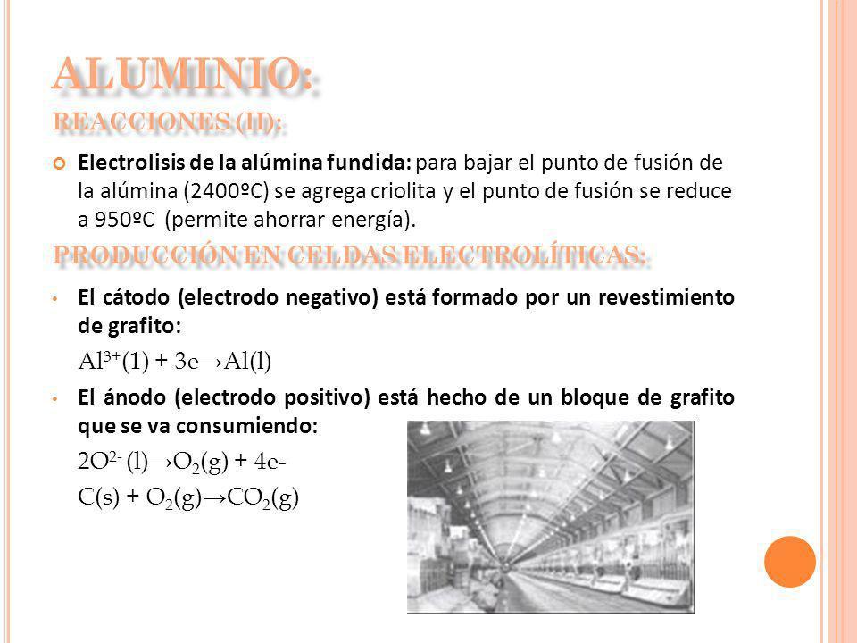 Electrolisis de la alúmina fundida: para bajar el punto de fusión de la alúmina (2400ºC) se agrega criolita y el punto de fusión se reduce a 950ºC (pe