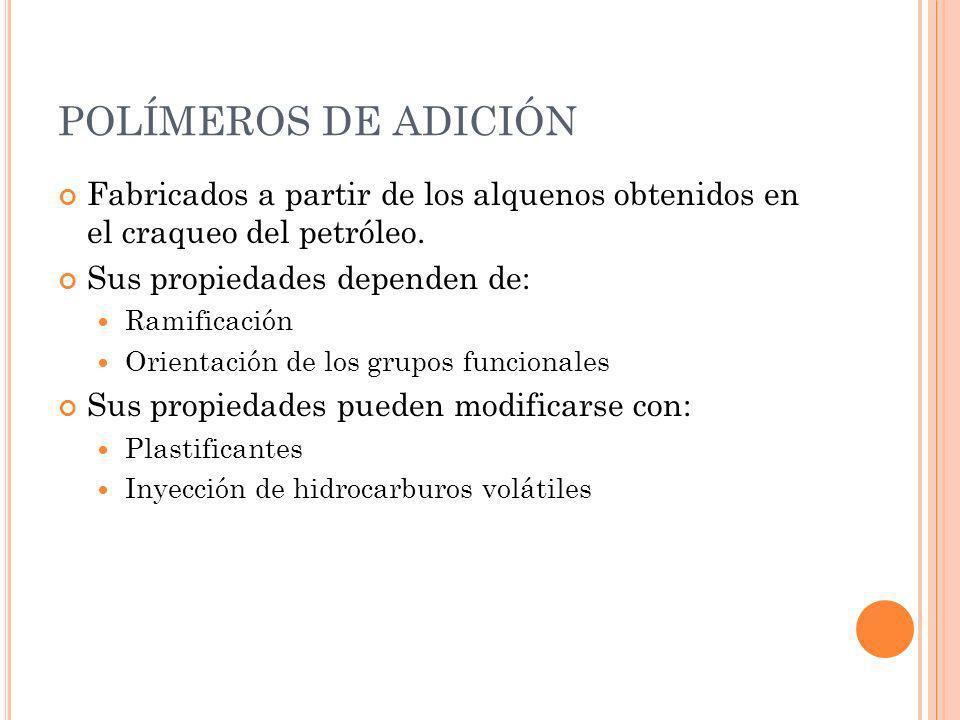 POLÍMEROS DE ADICIÓN Fabricados a partir de los alquenos obtenidos en el craqueo del petróleo. Sus propiedades dependen de: Ramificación Orientación d