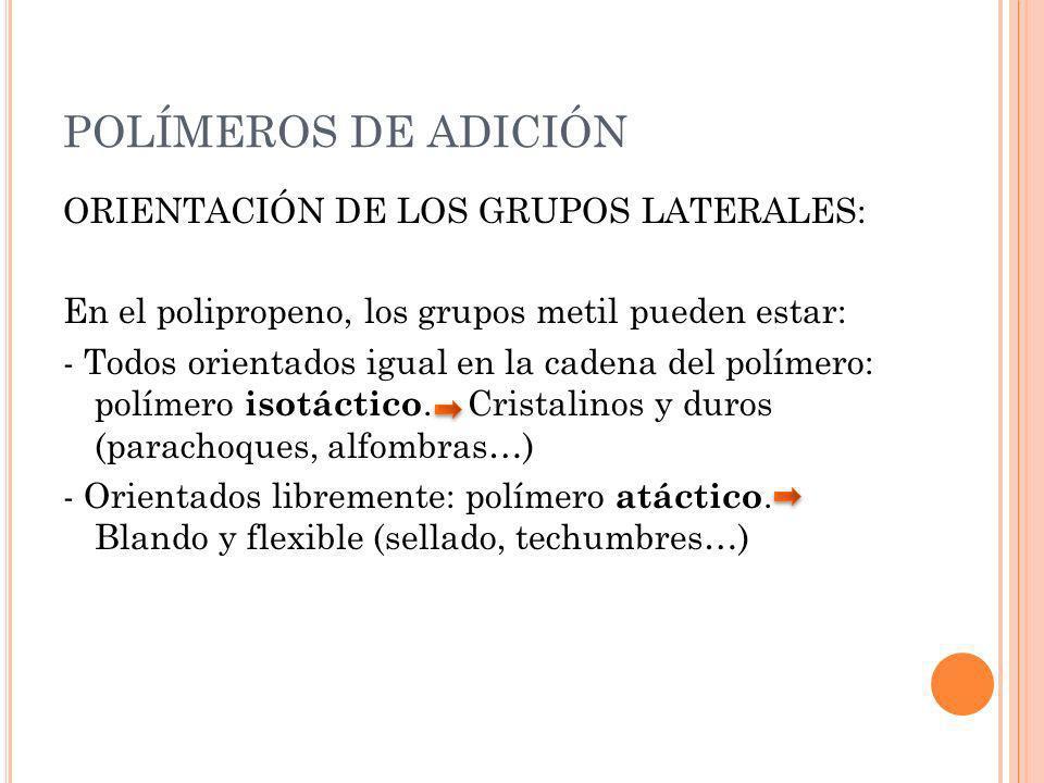POLÍMEROS DE ADICIÓN ORIENTACIÓN DE LOS GRUPOS LATERALES: En el polipropeno, los grupos metil pueden estar: - Todos orientados igual en la cadena del