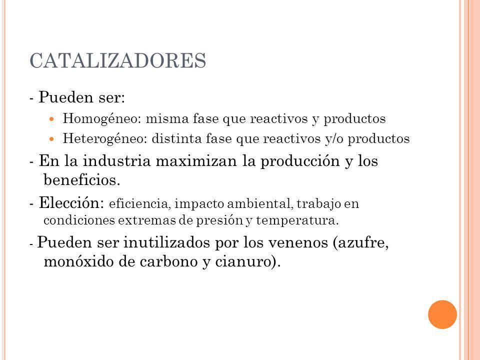 CATALIZADORES - Pueden ser: Homogéneo: misma fase que reactivos y productos Heterogéneo: distinta fase que reactivos y/o productos - En la industria m