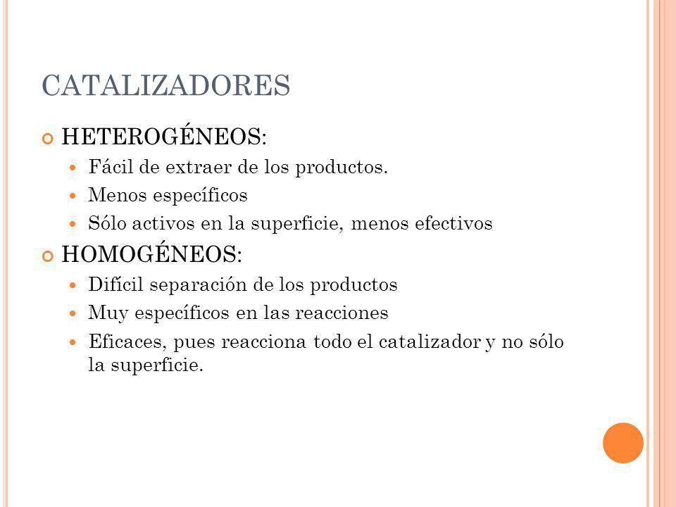 CATALIZADORES HETEROGÉNEOS: Fácil de extraer de los productos. Menos específicos Sólo activos en la superficie, menos efectivos HOMOGÉNEOS: Difícil se
