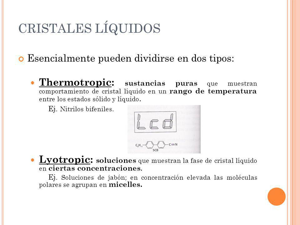 CRISTALES LÍQUIDOS Esencialmente pueden dividirse en dos tipos: Thermotropic: sustancias puras que muestran comportamiento de cristal líquido en un ra