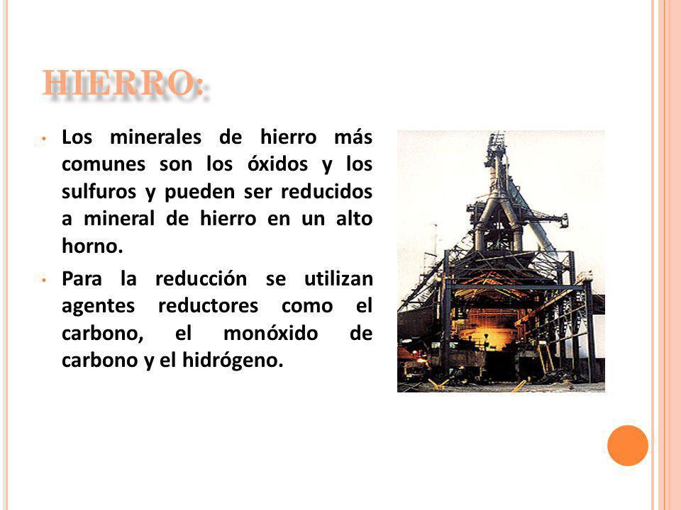Los minerales de hierro más comunes son los óxidos y los sulfuros y pueden ser reducidos a mineral de hierro en un alto horno. Para la reducción se ut