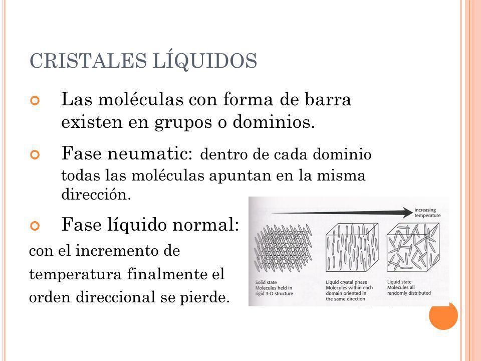 CRISTALES LÍQUIDOS Las moléculas con forma de barra existen en grupos o dominios. Fase neumatic: dentro de cada dominio todas las moléculas apuntan en