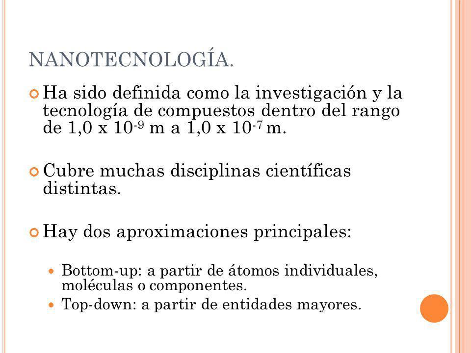 NANOTECNOLOGÍA. Ha sido definida como la investigación y la tecnología de compuestos dentro del rango de 1,0 x 10 -9 m a 1,0 x 10 -7 m. Cubre muchas d