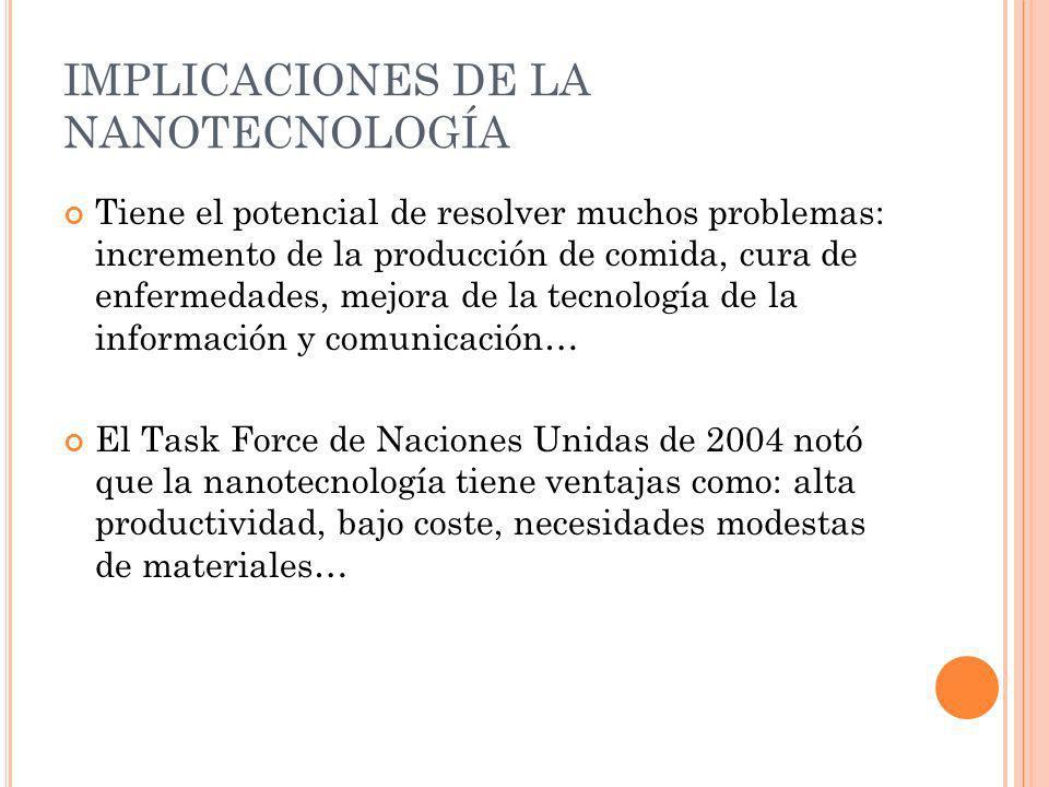 IMPLICACIONES DE LA NANOTECNOLOGÍA Tiene el potencial de resolver muchos problemas: incremento de la producción de comida, cura de enfermedades, mejor