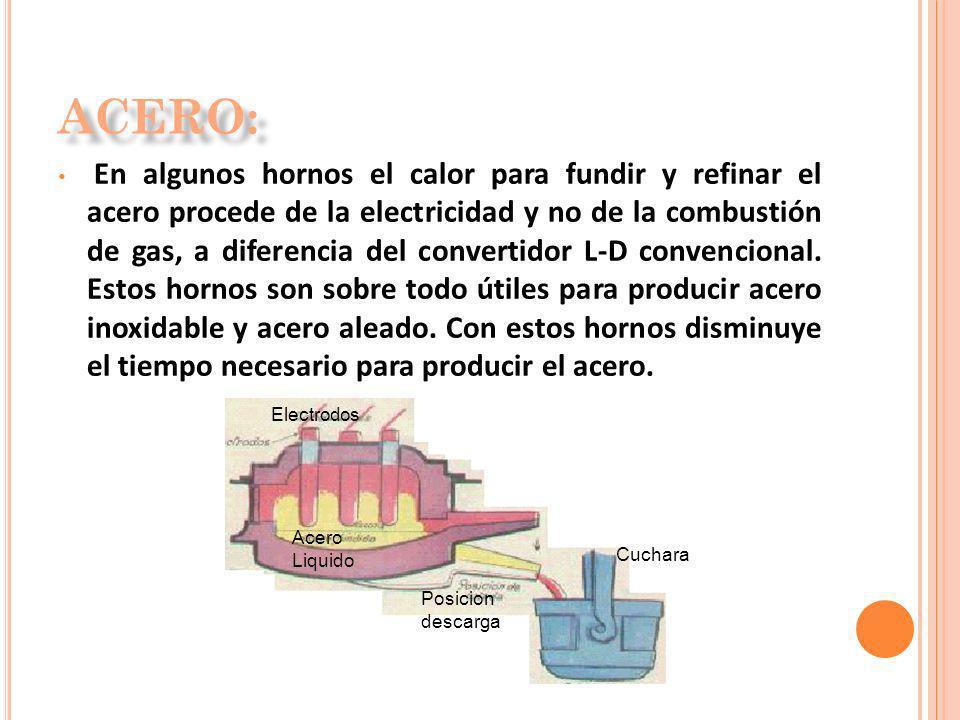 En algunos hornos el calor para fundir y refinar el acero procede de la electricidad y no de la combustión de gas, a diferencia del convertidor L-D co