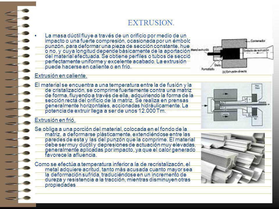 EXTRUSION. La masa dúctil fluye a través de un orificio por medio de un impacto o una fuerte compresión, ocasionada por un émbolo o punzón, para defor