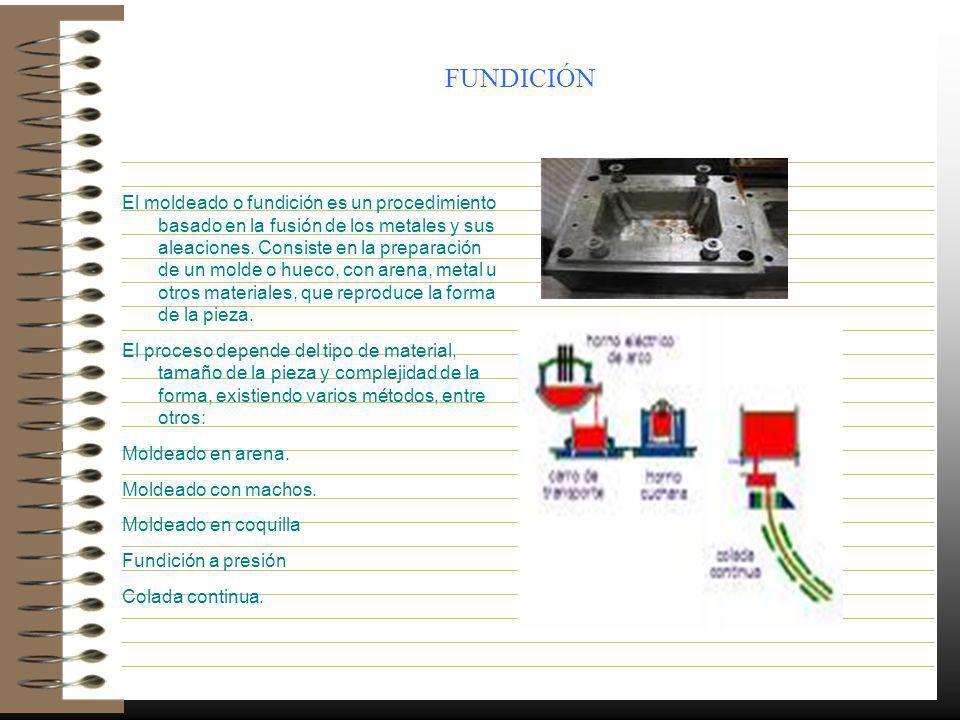 FUNDICIÓN El moldeado o fundición es un procedimiento basado en la fusión de los metales y sus aleaciones. Consiste en la preparación de un molde o hu