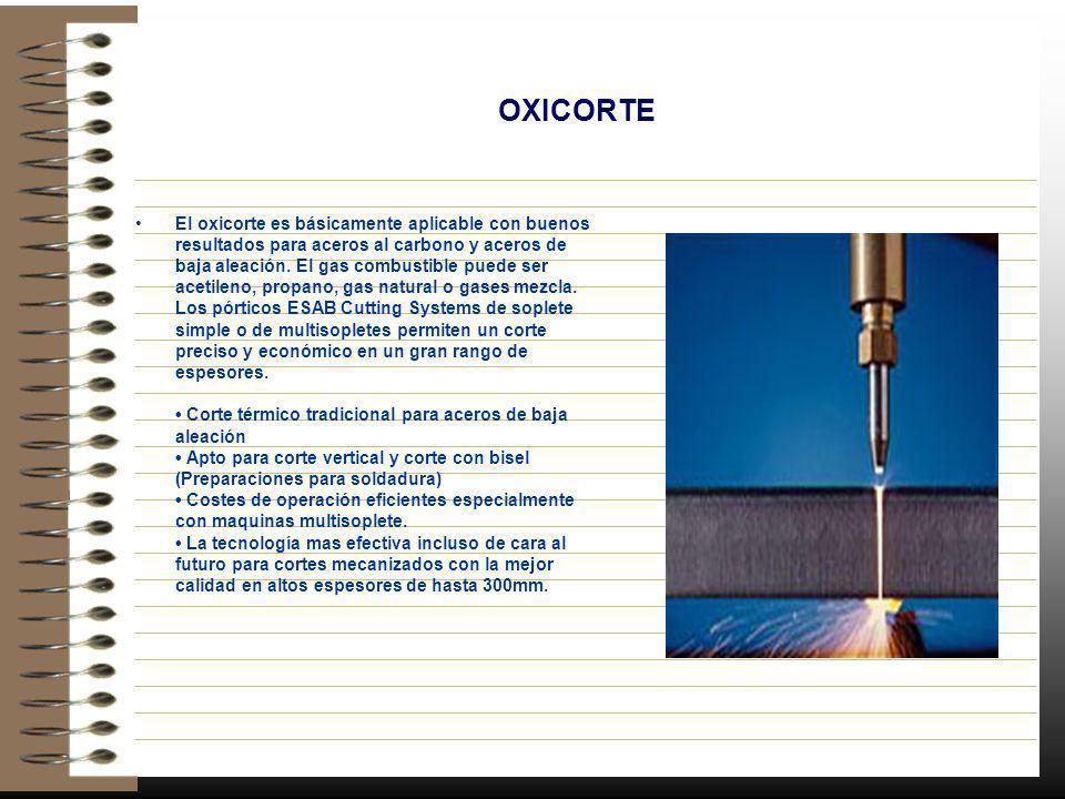 OXICORTE El oxicorte es básicamente aplicable con buenos resultados para aceros al carbono y aceros de baja aleación. El gas combustible puede ser ace