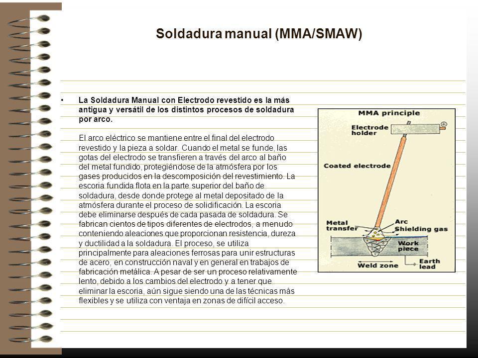 Soldadura manual (MMA/SMAW) La Soldadura Manual con Electrodo revestido es la más antigua y versátil de los distintos procesos de soldadura por arco.