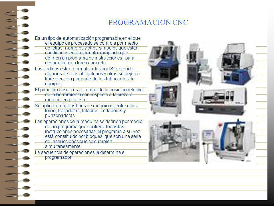 PROGRAMACION CNC Es un tipo de automatización programable,en el que el equipo de procesado se controla por medio de letras, números y otros símbolos q