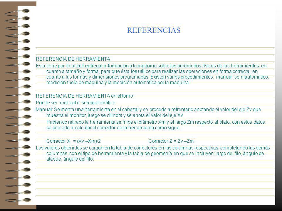 REFERENCIAS REFERENCIA DE HERRAMIENTA Esta tiene por finalidad entregar información a la máquina sobre los parámetros físicos de las herramientas, en