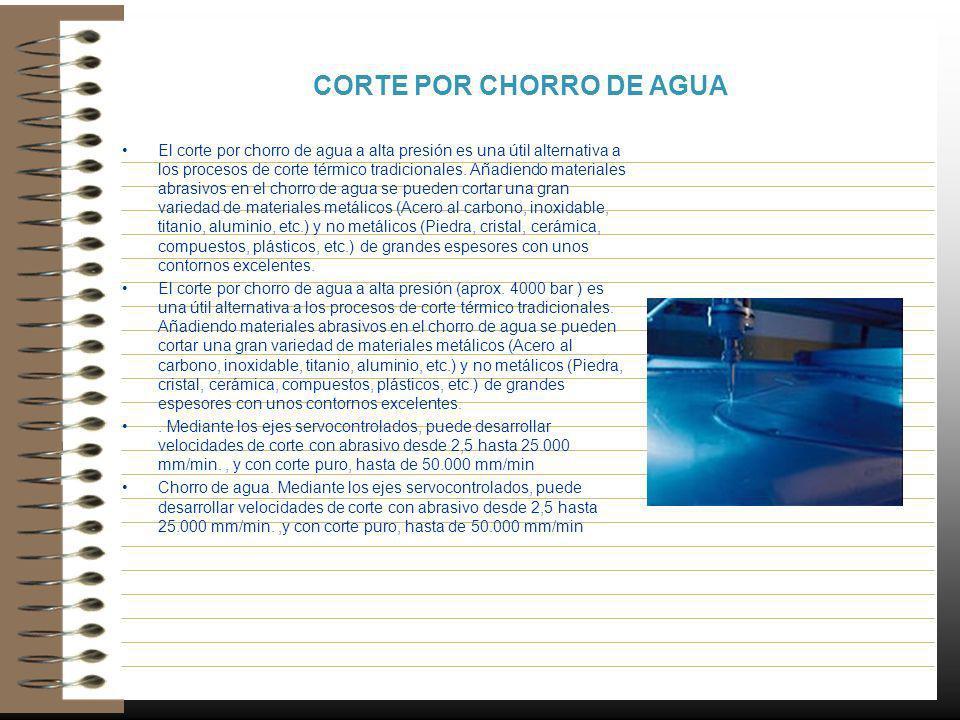 CORTE POR CHORRO DE AGUA El corte por chorro de agua a alta presión es una útil alternativa a los procesos de corte térmico tradicionales. Añadiendo m