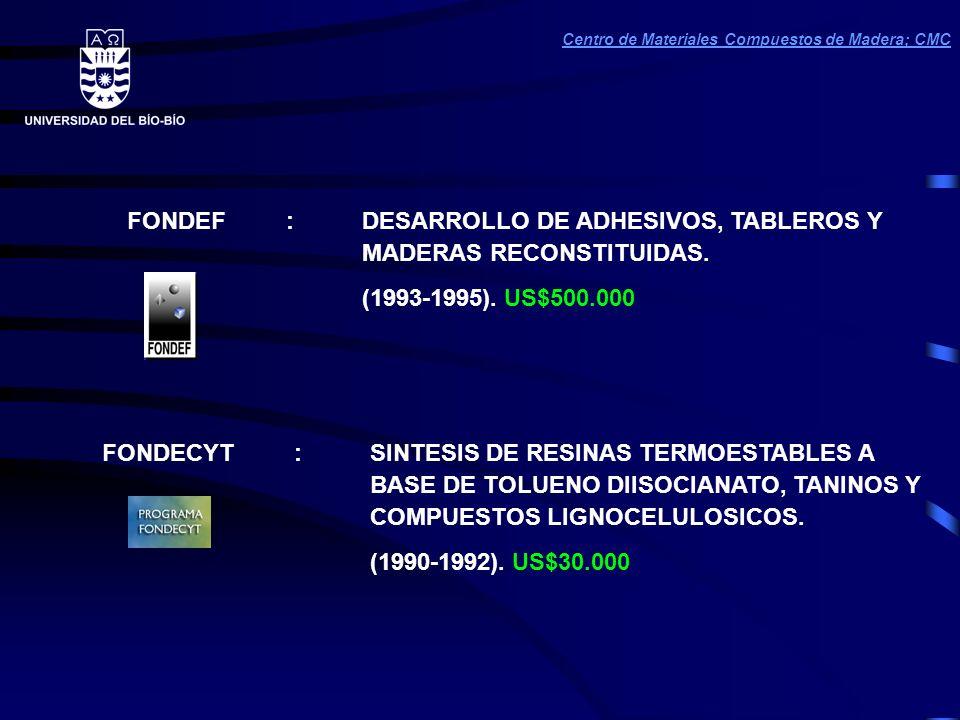 FONDEF :DESARROLLO DE ADHESIVOS, TABLEROS Y MADERAS RECONSTITUIDAS.