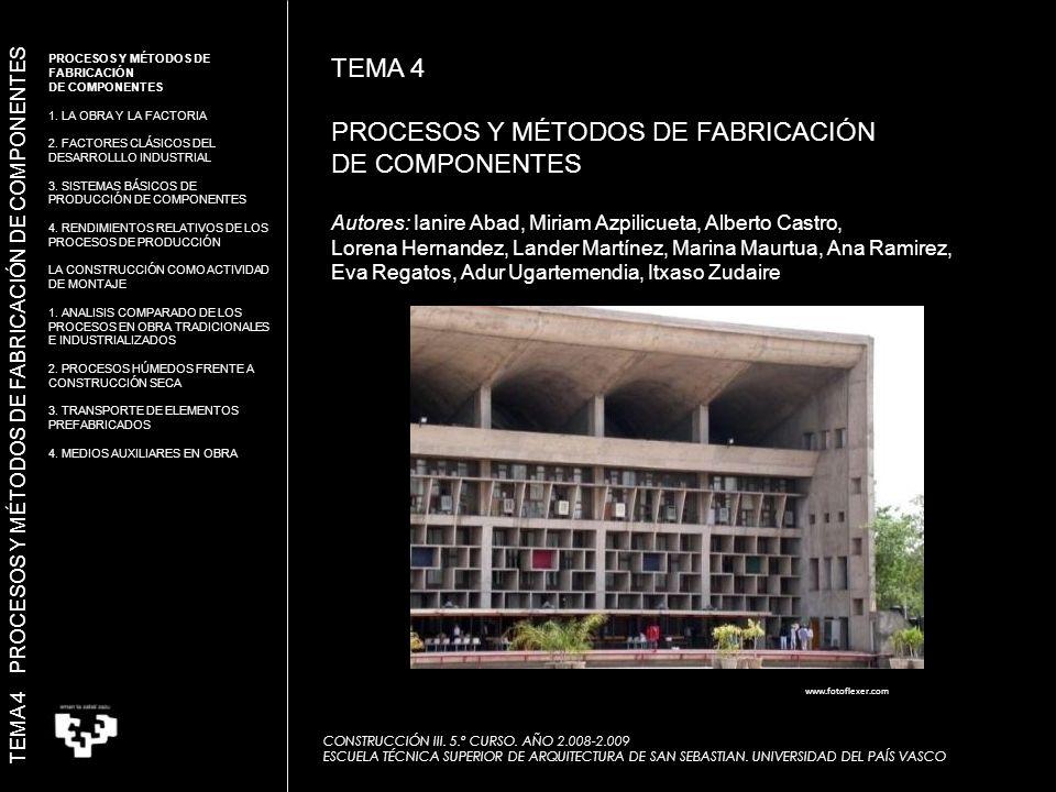 MINERÍA www.grupocalider.com MICROPROCESADORES www.upv.es CONSTRUCCIÓN AEROESPACIAL www.faro.com PROXIMIDAD DEL CIUDADANO CONSTRUCCIÓN = INDUSTRIA DISTINTA TEMA 4 PROCESOS Y MÉTODOS DE FABRICACIÓN DE COMPONENTES 1.1.
