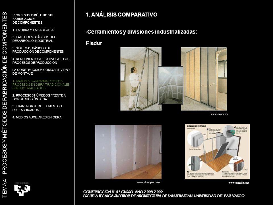 Pladur 1.ANÁLISIS COMPARATIVO CONSTRUCCIÓN III. 5.º CURSO.