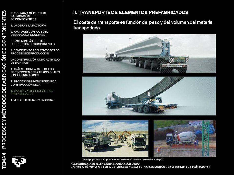 3.TRANSPORTE DE ELEMENTOS PREFABRICADOS CONSTRUCCIÓN III.