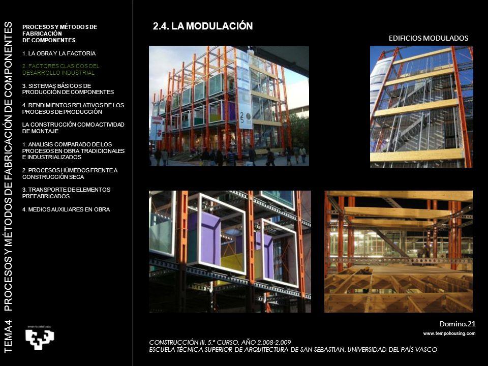 EDIFICIOS MODULADOS Domino.21 TEMA 4 PROCESOS Y MÉTODOS DE FABRICACIÓN DE COMPONENTES CONSTRUCCIÓN III.