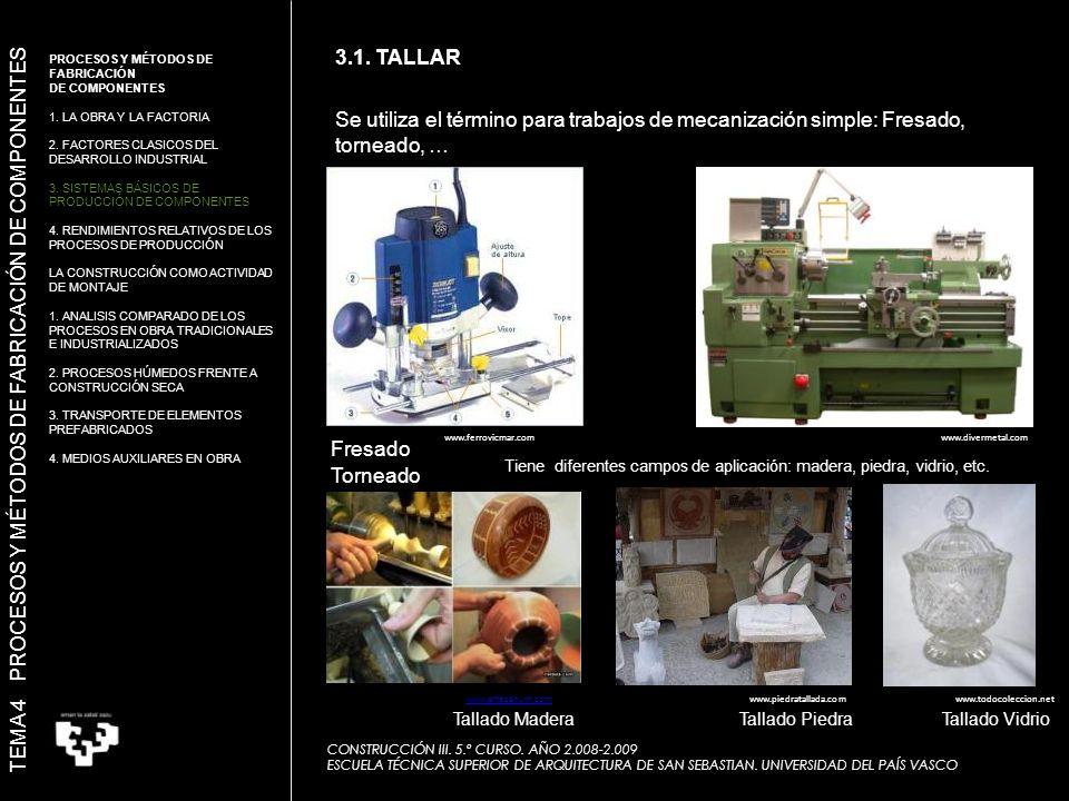 Se utiliza el término para trabajos de mecanización simple: Fresado, torneado, … Fresado Torneado Tiene diferentes campos de aplicación: madera, piedra, vidrio, etc.