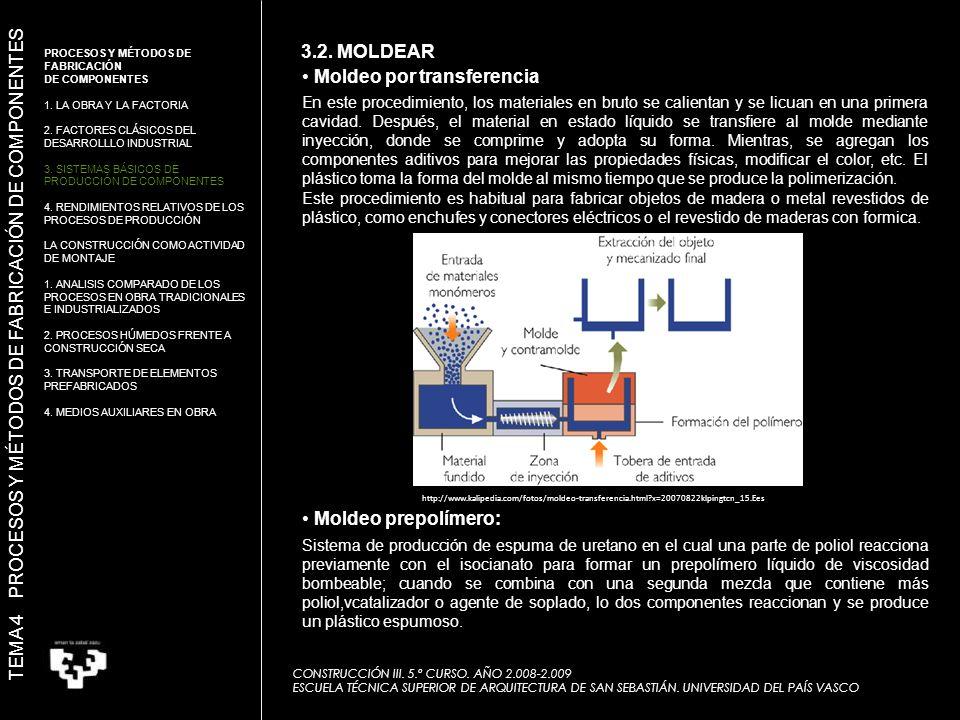 Sistema de producción de espuma de uretano en el cual una parte de poliol reacciona previamente con el isocianato para formar un prepolímero líquido de viscosidad bombeable; cuando se combina con una segunda mezcla que contiene más poliol,vcatalizador o agente de soplado, lo dos componentes reaccionan y se produce un plástico espumoso.