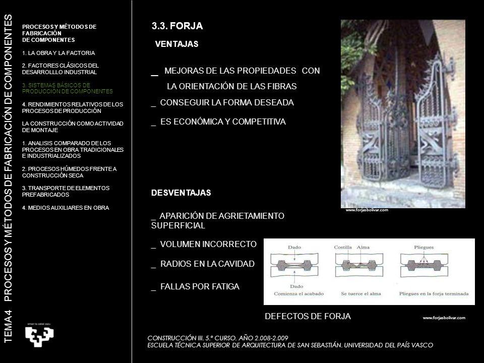 VENTAJAS DESVENTAJAS _ MEJORAS DE LAS PROPIEDADES CON LA ORIENTACIÓN DE LAS FIBRAS _ CONSEGUIR LA FORMA DESEADA _ ES ECONÓMICA Y COMPETITIVA _ APARICIÓN DE AGRIETAMIENTO SUPERFICIAL _ VOLUMEN INCORRECTO _ RADIOS EN LA CAVIDAD _ FALLAS POR FATIGA DEFECTOS DE FORJA www.forjasbolivar.com TEMA 4 PROCESOS Y MÉTODOS DE FABRICACIÓN DE COMPONENTES 3.3.