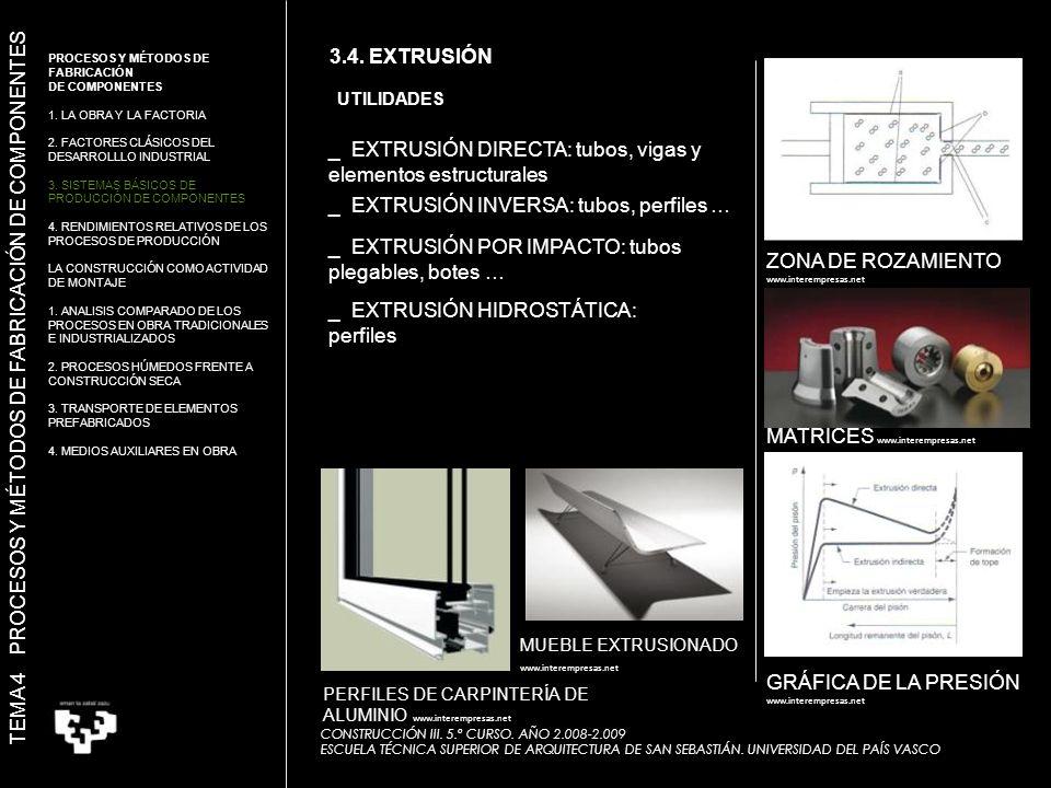 ZONA DE ROZAMIENTO www.interempresas.net MATRICES www.interempresas.net GRÁFICA DE LA PRESIÓN www.interempresas.net PERFILES DE CARPINTERÍA DE ALUMINIO www.interempresas.net MUEBLE EXTRUSIONADO www.interempresas.net UTILIDADES _ EXTRUSIÓN DIRECTA: tubos, vigas y elementos estructurales _ EXTRUSIÓN INVERSA: tubos, perfiles … _ EXTRUSIÓN POR IMPACTO: tubos plegables, botes … _ EXTRUSIÓN HIDROSTÁTICA: perfiles TEMA 4 PROCESOS Y MÉTODOS DE FABRICACIÓN DE COMPONENTES 3.4.