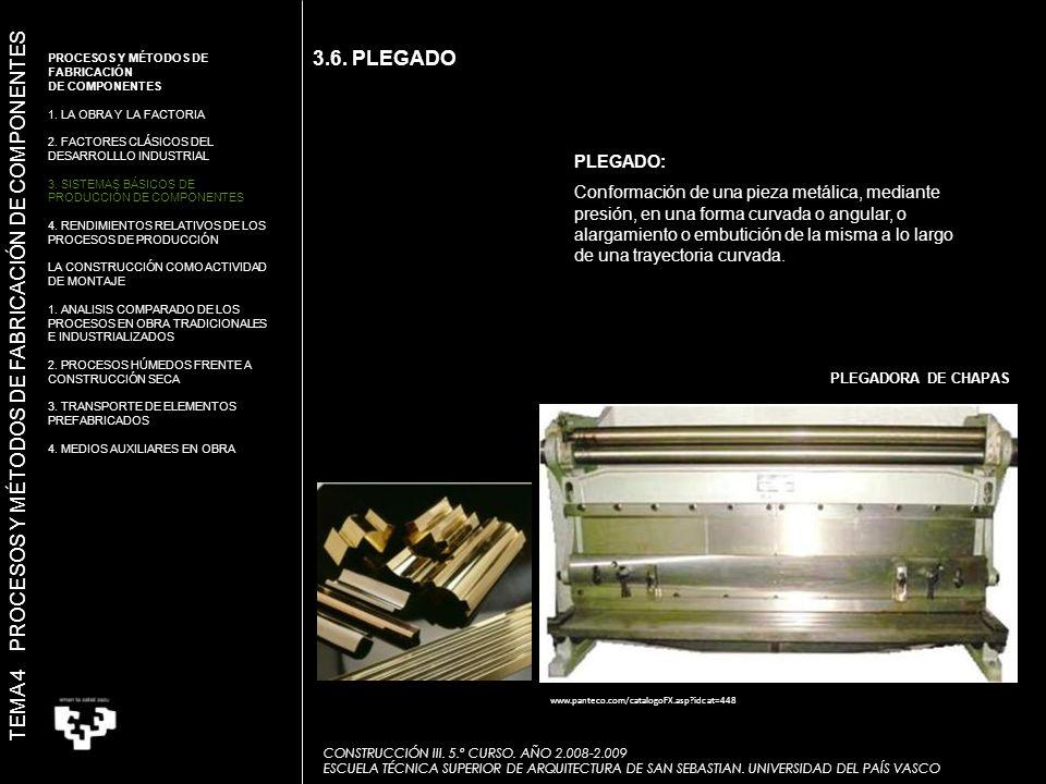 3.6. PLEGADO PLEGADO: Conformación de una pieza metálica, mediante presión, en una forma curvada o angular, o alargamiento o embutición de la misma a