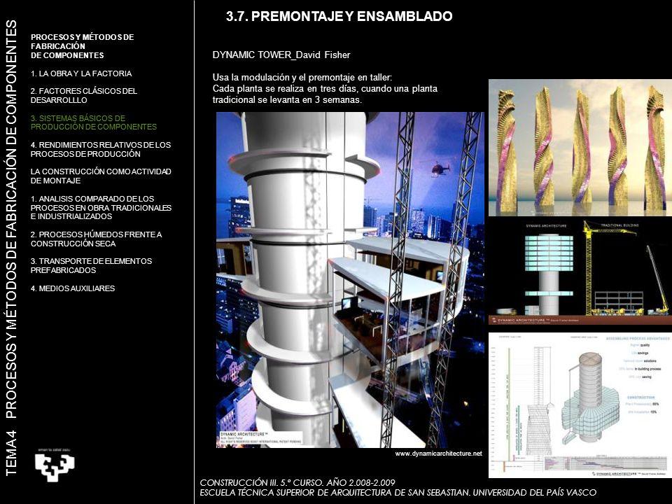 3.7. PREMONTAJE Y ENSAMBLADO DYNAMIC TOWER_David Fisher Usa la modulación y el premontaje en taller: Cada planta se realiza en tres días, cuando una p