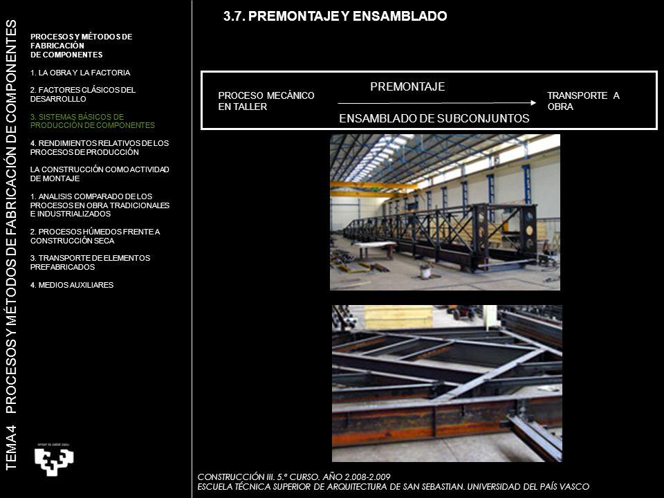PROCESO MECÁNICO EN TALLER TRANSPORTE A OBRA PREMONTAJE ENSAMBLADO DE SUBCONJUNTOS PREMONTAJE 3.7.