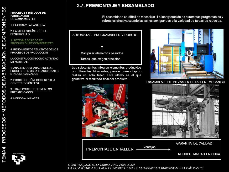 ENSAMBLAJE DE PIEZAS EN EL TALLER MECANICO AUTOMATAS PROGRAMABLES Y ROBOTS Manipular elementos pesados Tareas que exigen precisión El ensamblado es difícil de mecanizar.