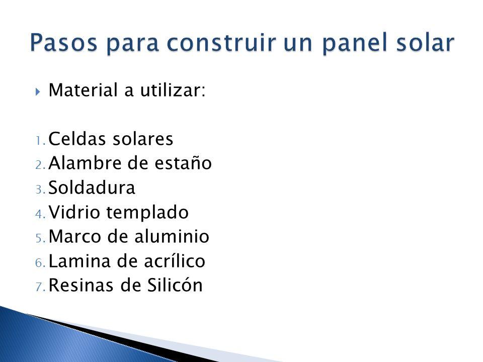 Material a utilizar: 1. Celdas solares 2. Alambre de estaño 3. Soldadura 4. Vidrio templado 5. Marco de aluminio 6. Lamina de acrílico 7. Resinas de S