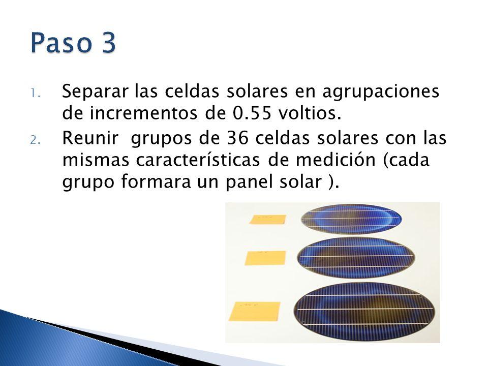 1. Separar las celdas solares en agrupaciones de incrementos de 0.55 voltios. 2. Reunir grupos de 36 celdas solares con las mismas características de