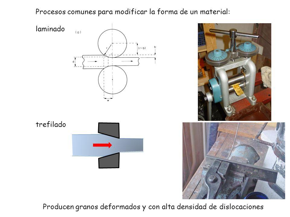 Procesos comunes para modificar la forma de un material: laminado trefilado Producen granos deformados y con alta densidad de dislocaciones