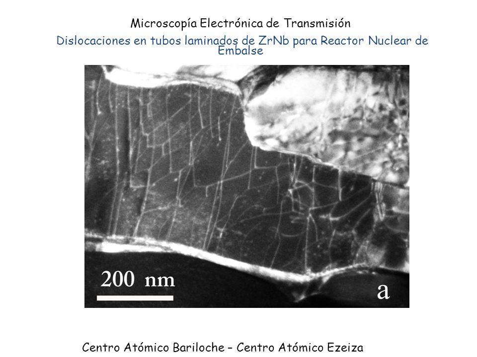 Microscopía Electrónica de Transmisión Dislocaciones en tubos laminados de ZrNb para Reactor Nuclear de Embalse Centro Atómico Bariloche – Centro Atóm