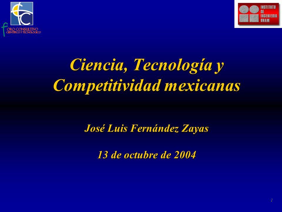 1 Ciencia, Tecnología y Competitividad mexicanas José Luis Fernández Zayas 13 de octubre de 2004