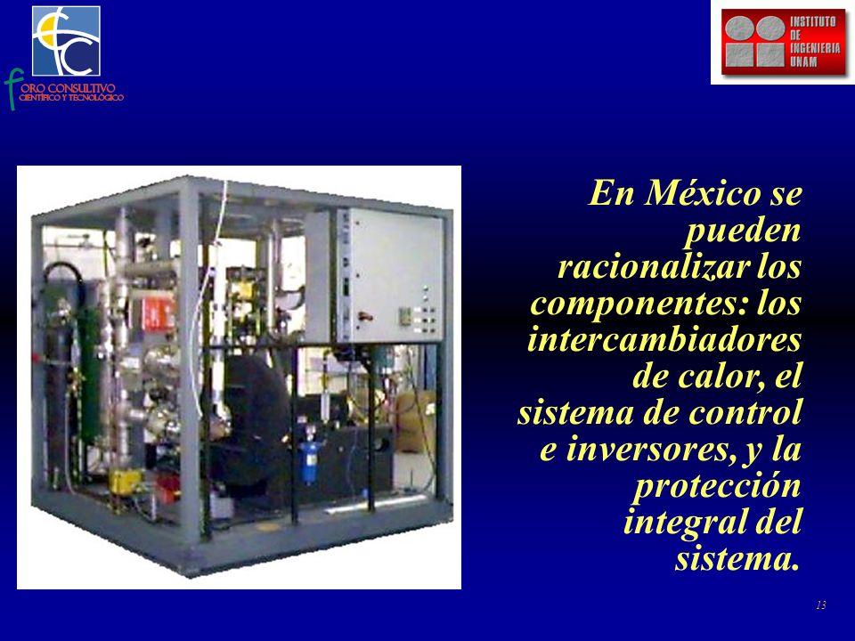 13 En México se pueden racionalizar los componentes: los intercambiadores de calor, el sistema de control e inversores, y la protección integral del sistema.